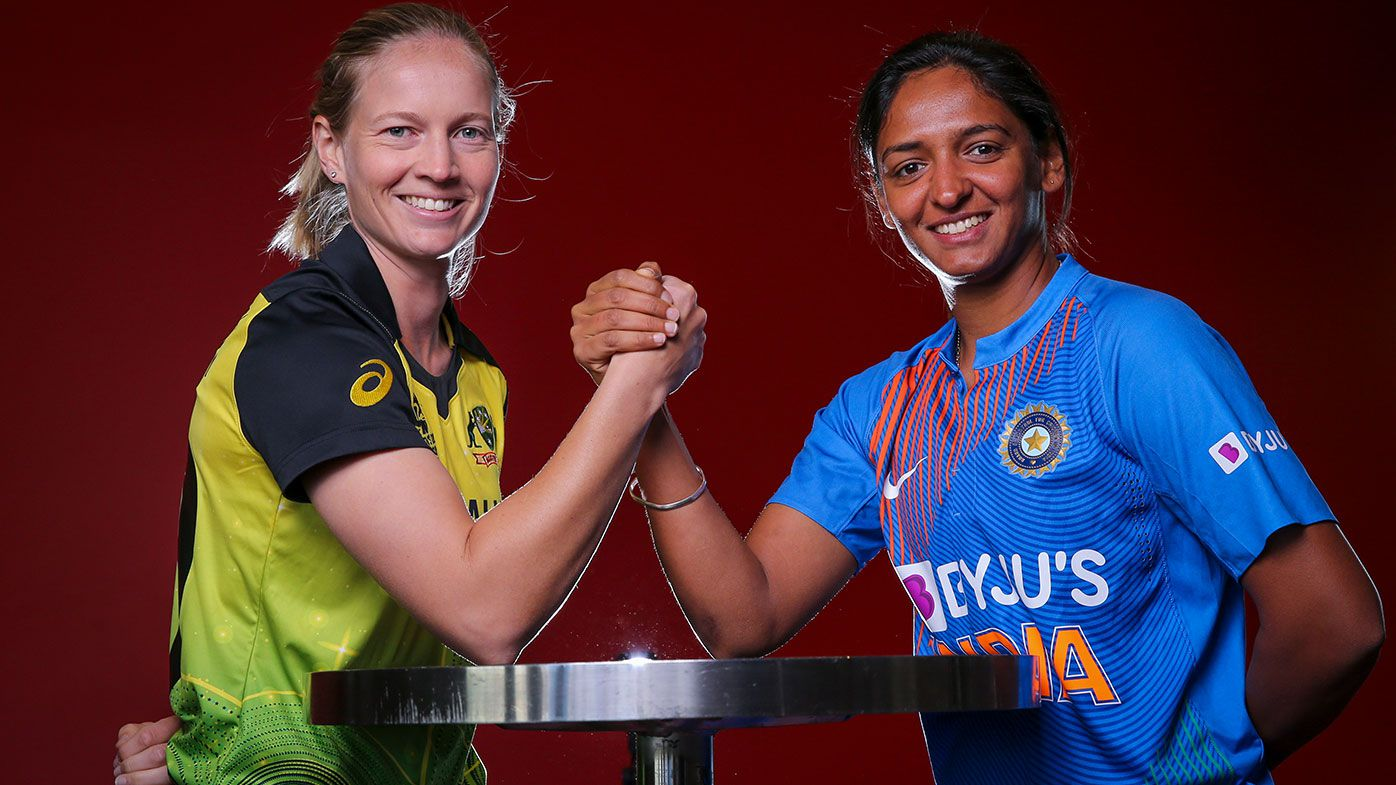 Womens T20 Captains Meg Lanning (L) of Australia and Harmanpreet Kaur of India pose for a photo