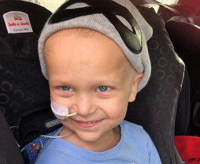 Ollie leukaemia in the car