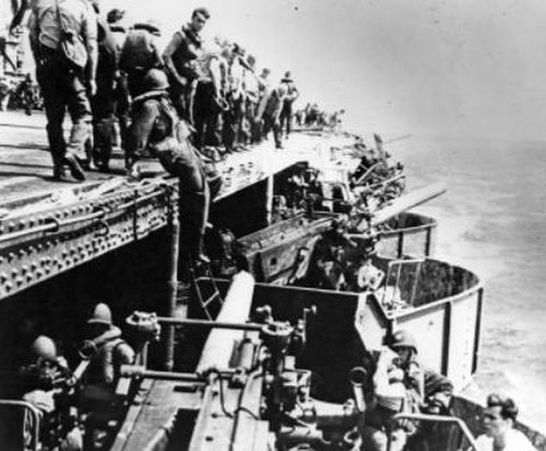 There was panic on the carrier after the Japanese hurled a torpedo at the USS Lexington. (Supplied)