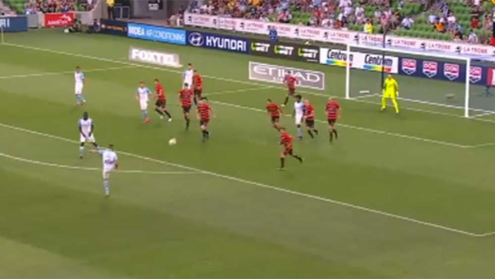 Melbourne City defender Franjic cracks home wonder volley