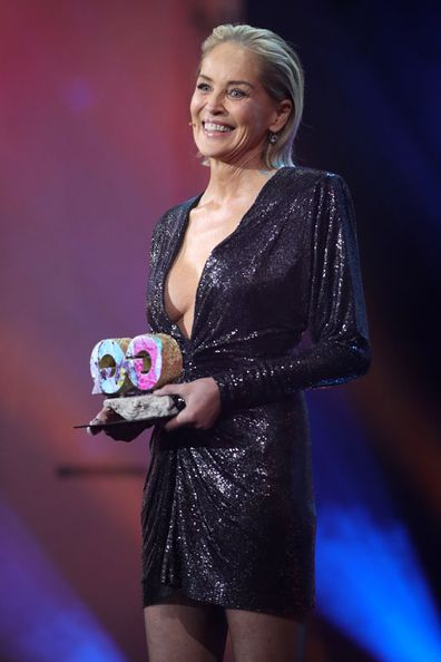 Sharon Stone speaks on stage during the GQ Men of the Year Award show at Komische Oper on November 07, 2019 in Berlin