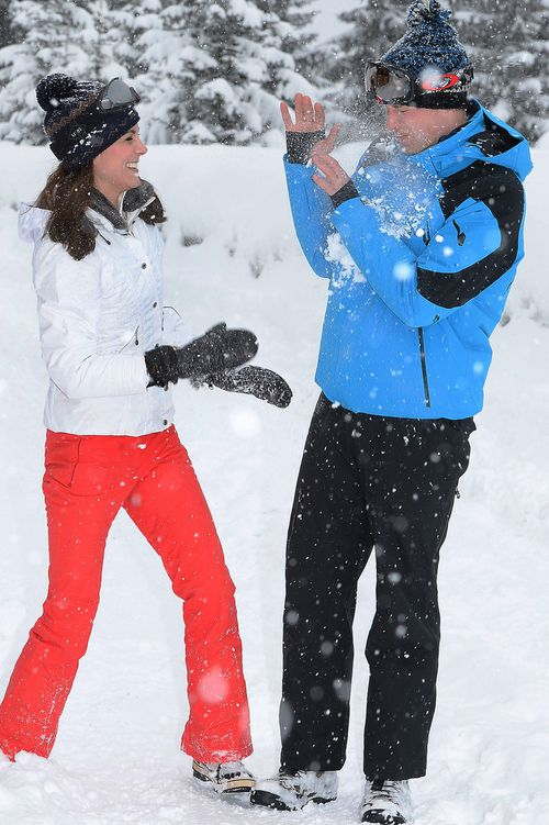 The Duke and Duchess of Cambridge play in the snow in the French Alps. (AAP)
