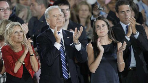 Jill and Joe Biden with Hallie and Hunter Biden in 2008. (AAP)