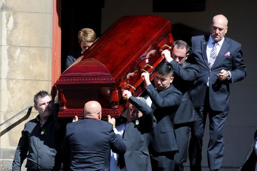 Mr Ristevski was one of the pallbearers at a private funeral service for his wife at Essendon's St John's Uniting Church.
