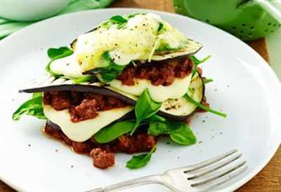 Spinach and eggplant lasagne stacks
