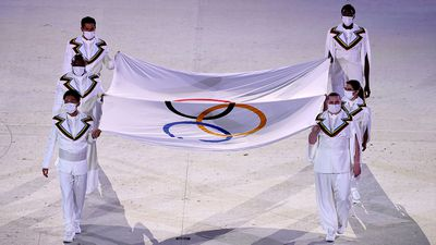 The Olympic emblem  enters