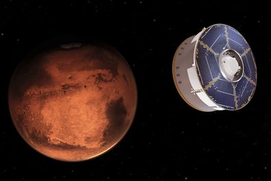 This illustration provided by NASA depicts the Mars 2020 spacecraft carrying the Perseverance rover as it approaches Mars. Perseverance's US $3billion mission is the first leg in a US-European effort to bring Mars samples to Earth in the next decade. (NASA/JPL-Caltech via AP)