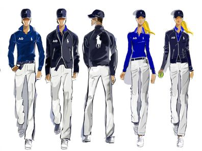Sketches of Ralph Lauren's uniforms for Australian Open.