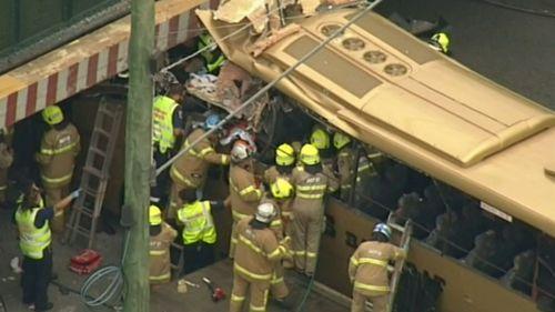 The tourist bus ploughed into Montague Street bridge.