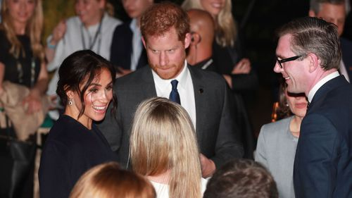 The Duke and Duchess of Sussex met with dignitaries at the Sydney Opera House before the Opening Ceremony on the forecourt