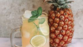Pineapple and lime gin and tonic