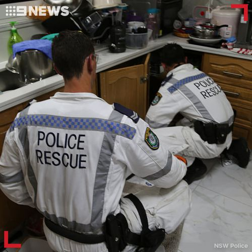 Police executed a search warrant at the home in Belmore yesterday morning, while also conducting simultaneous searches at properties in Bardwell Valley, Campsie, Lakemba and Marrickville as part of the same operation.