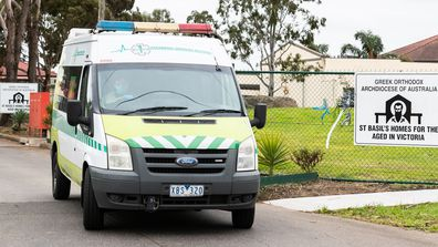 A Paramedic van departs the St Basil's homes for the Aged facility in Fawkner on July 27, 2020 in Melbourne, Australia.