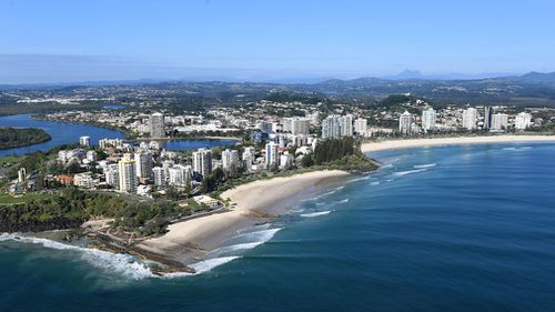 An aerial view Coolangatta on the Gold Coast. (AAP)