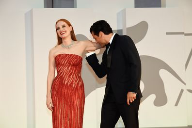 Oscar Isaac, Jessica Chastain at the 78 Venice International Film Festival 2021.  Scenes From a Marriage red carpet. Venice (Italy), September 4th, 2021