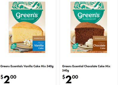 Stock up on Green's cake mixes selling for just $2 per pack.