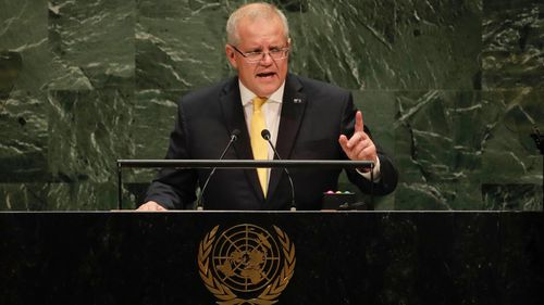 Prime Minister Scott Morrison addresses the United Nations (UN) General Assembly in New York during his visit to the United States of America on Wednesday 25 September 2019. Photo: Alex Ellinghausen