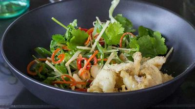 """Recipe: <a href=""""http://kitchen.nine.com.au/2017/08/04/15/01/salt-and-pepper-balmain-bugs-with-coriander-macadamia-and-ginger-salad"""" target=""""_top"""">Salt and pepper Balmain bugs with coriander, macadamia and ginger salad</a>"""
