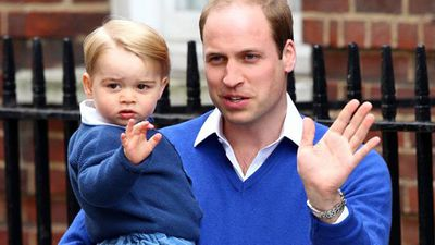 Prince William and future king Prince George wave to the crowd ahead of George being introduced to his new baby sister.