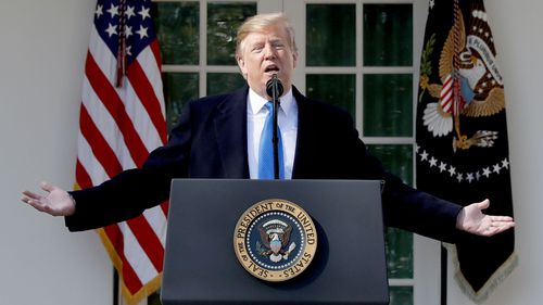 US President Donald Trump speaks during an event in the Rose Garden at the White House to declare a national emergency in order to build a wall along the southern border.
