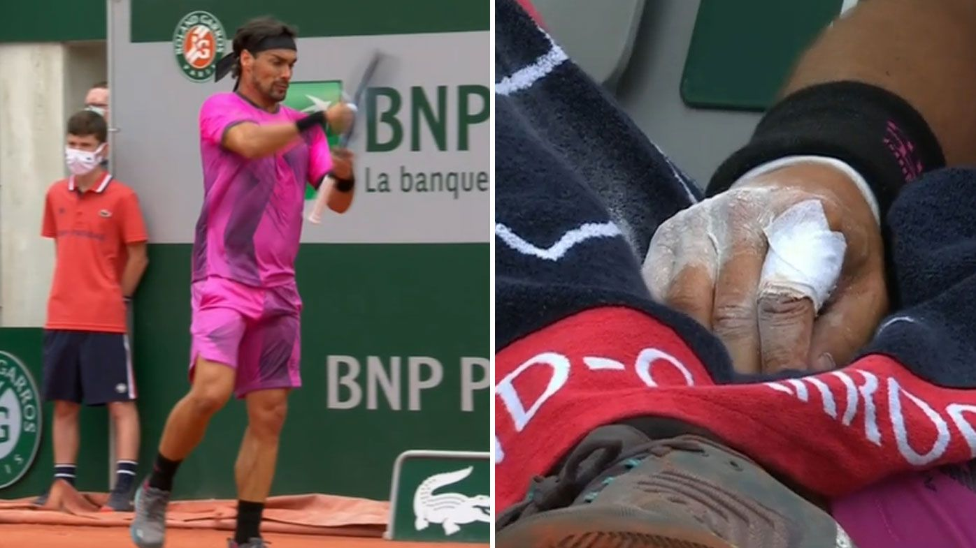 Fabio Fognini crashes out of Roland-Garros after moment of 'stupidity'