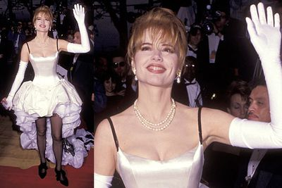 Looks like Geena borrowed one of Pamela Anderson's wedding dresses. And it wasn't even the '80s anymore, so there goes that excuse!