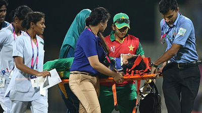 "Khan was taken off the field on a stretcher before being taken to hospital. ""She has been discharged with a fractured thumb but we are still waiting for the medical report,"" team manager Ayesha Ashhar told Reuters."