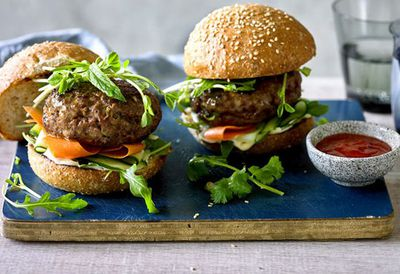 "Recipe:&nbsp;<a href=""http://kitchen.nine.com.au/2016/06/16/11/23/asianstyle-beef-burgers"" target=""_top"">Asian-style beef burgers</a>"