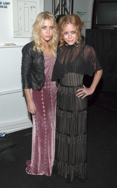 Ashley and Mary Kate Olsen, both in Badgley Mischka, at the Badgley Mischka show for New York Fashion Week in March, 2006