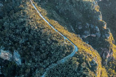 Aerial of the Narrow Neck Plateau Trail located in the World-Heritage listed Blue Mountains National Park.