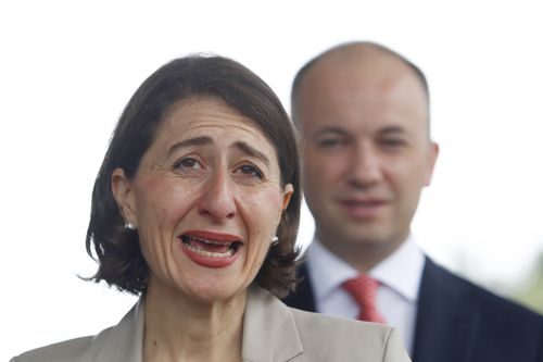 NSW Premier Gladys Berejiklian talks to the media during a press conference on petrol prices at an independent petrol station in Hornsby. (AAP)