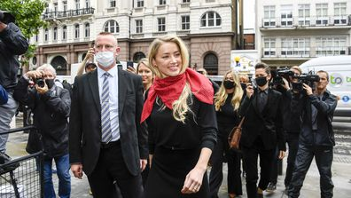 Amber Heard arrives at the High Court in London, Wednesday July 8, 2020