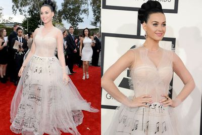 Just in case you didn't know, Katy Perry is a musician guys...which is why she has music notes all over her high-fash frock. <br/><br/>D'uh.