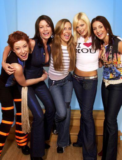 Bardot members Belinda Chapple, Sophie Monk, Sally Polihronas, Katie Underwood and Tiffani Wood