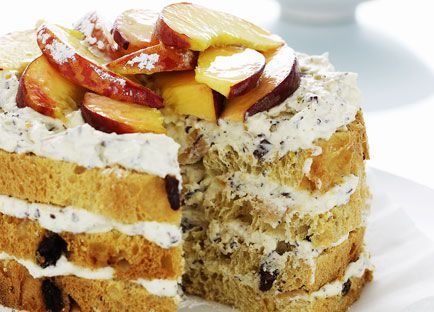 Panettone, ricotta and peach cake