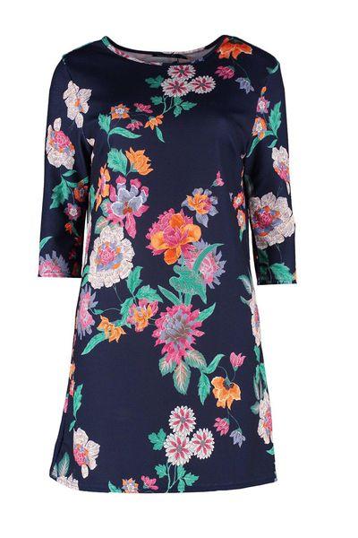 "<a href=""http://au.boohoo.com/womens/dresses/new-in"" target=""_blank"">Boohoo Joss Dark 3/4 Sleeve Shift Dress, $30.</a>"