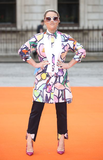 Jaime Winstone in Giles Deacon at the Royal Academy of Arts summer exhibition.