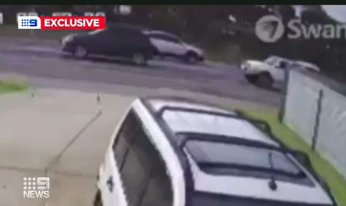 CCTV video shows the white ute closely following Chloe's car.