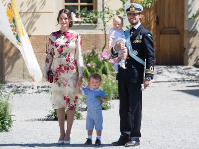 Prince Carl Philip attends royal christening with wife and children
