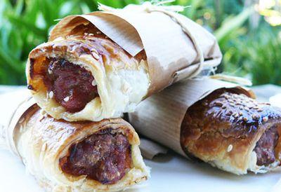 Chorizo and onion sausage rolls