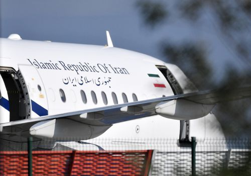 The plane which carried Iranian Foreign Minister Mohammad Javad Zarif is seen on the tarmac of the airport in Biarritz, France.