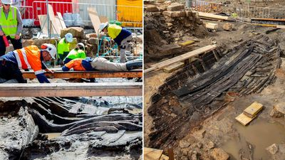 Historic 180-year-old boat uncovered in excavations for Sydney Metro station