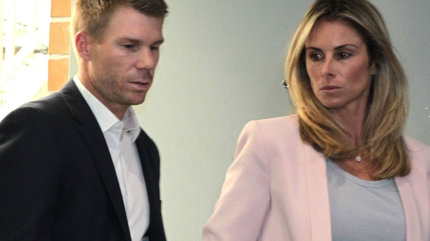 David and Candice Warner arrive for conference