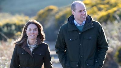 The Duke and Duchess of Cambridge walk the cliff walk at Howth in Ireland in 2020.