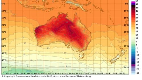 The heat peaked in the late afternoon. (Bureau of Meterology)