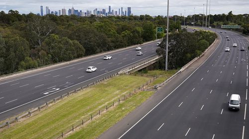 General view of the Eastern Freeway showing less than typical traffic in Melbourne, on March 25.