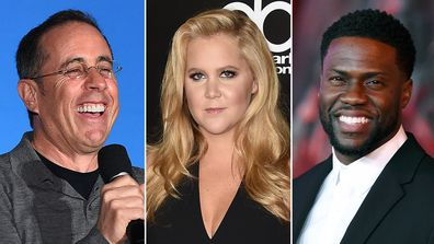 Forbes, list, highest-earning comedians 2019, Jerry Seinfeld, Amy Schumer, Kevin Hart