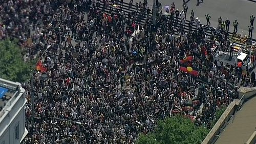 "Thousands took to Melbourne's streets for ""Invasion Day"" protests outside of the Victorian Parliament (Supplied)."