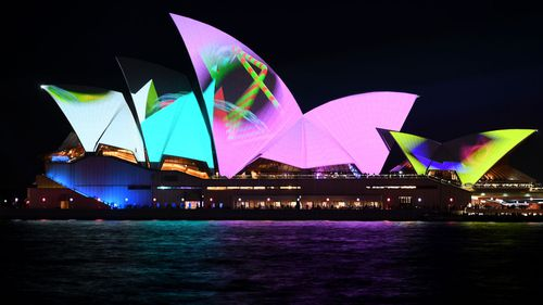 "Scott Morrison said he ""doesn't understand"" the fuss over Friday's announcement about projecting images onto the Sydney Opera House related to the Everest horse race. Image of the landmark lit up at Vivid."