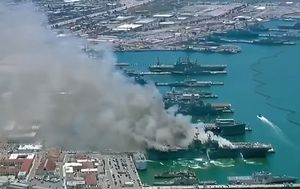 Eighteen sailors injured after explosion and fire on US Navy warship